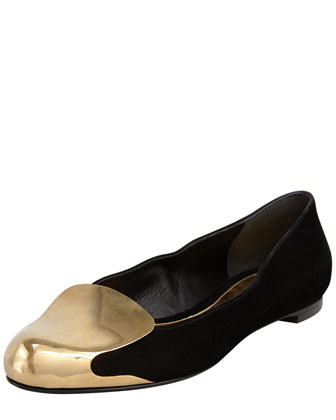 Metal-Capped Suede Smoking Slipper, Black