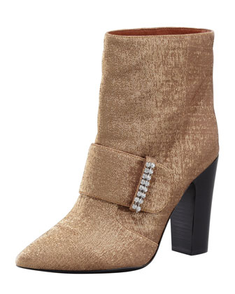 Metallic Pointed-Toe Bootie, Gold