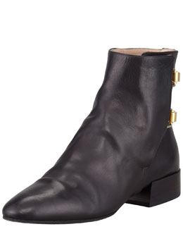 Chloe Double-Buckle Leather Ankle Boot, Black