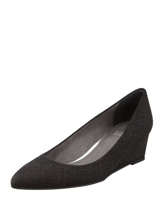 Nuevo Point-Toe Saffiano Wedge, Black