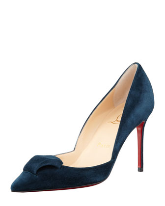 Philaer Suede Red Sole Pump, Blue Kohl