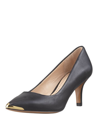 Iliah Metal-Tip Pointy-Toe Mid-Heel Pump, Black