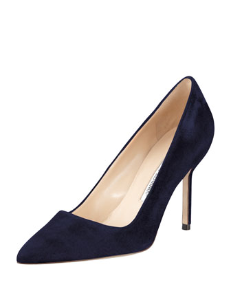 BB Suede 90mm Pump, Navy (Made to Order)