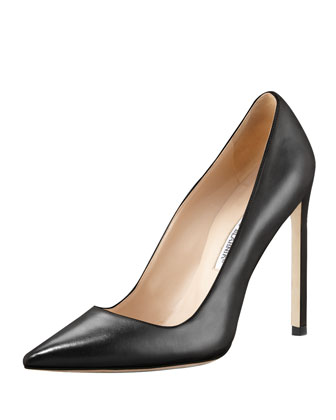 BB Leather 115mm Pump, Black (Made to Order)
