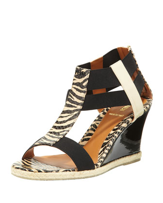 Patent Banded-Strap Wedge Sandal, Zebra Print