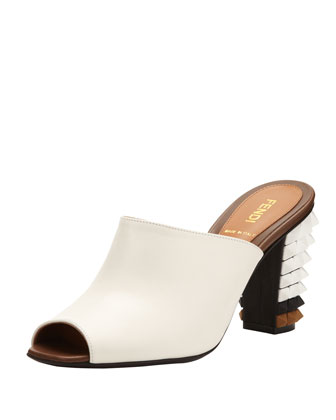 Leather Pyramid Stud-Heel Slide, White/Black