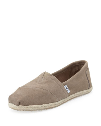 Suede Espadrille Slip-On, Taupe