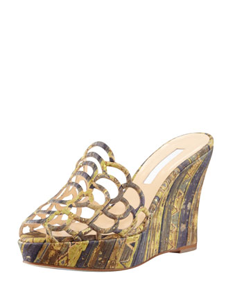 Cork Scalloped Wedge Sandal, Green