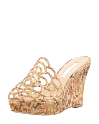 Snake-Printed Scalloped Cork Wedge Sandal, Natural