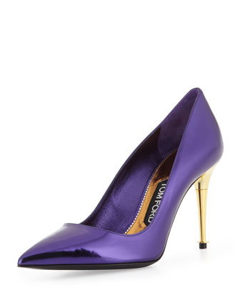 Low-Heel Pointed-Toe Metallic Pump, Purple