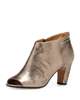 Leather Peep-toe Metallic Ankle Bootie