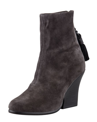 Tacita Tassel Wedge Ankle Boot, Asphalt Gray