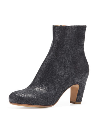 Lizard-Print Peep-Toe Ankle Boot