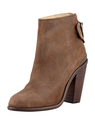 Kerr Back-Tab Leather Ankle Boot, Brown