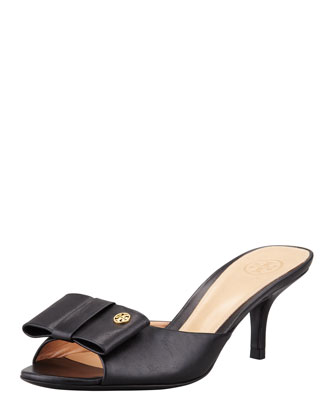 Audrina Leather Bow Slide, Black