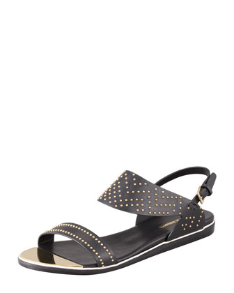 Studded Flat Leather Sandal, Black