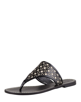 Amara Laser-Cut Patent Thong Sandal, Black/Natural