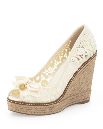 Jackie Lace Espadrille Wedge, White