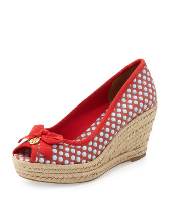 Jackie Peep-Toe Canvas Wedge, Red