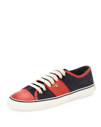 Churchill Striped Suede Sneaker, Navy/Ivory/Red