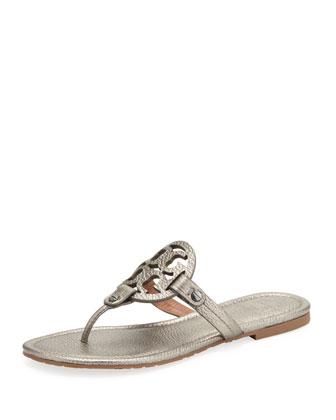 Miller Metallic Logo Thong Sandal, Pewter