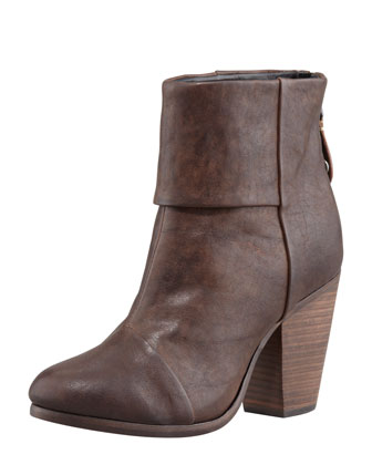 Classic Newbury Leather Bootie, Deep Brown