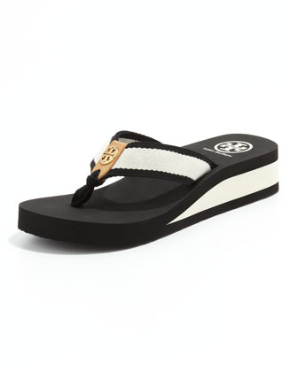 Ray Rubber Wedge Flip-Flop, Black/Ivory/Honey