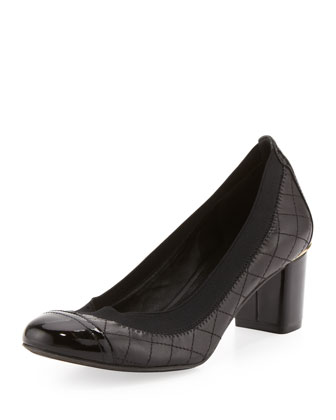 Carrie Quilted Mid-Heel Pump, Black