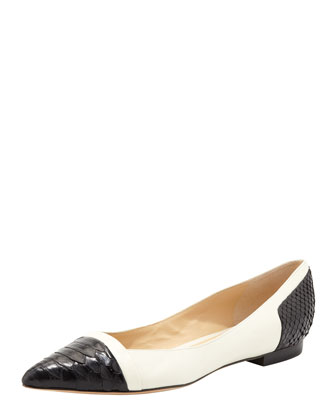 Point-Toe Python Ballet Flat, Black/Off-White