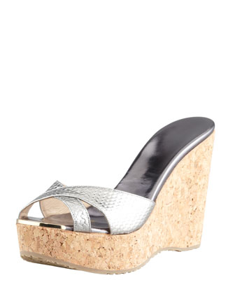 Perfume Metallic Crisscross Cork Wedge Slide, Anthracite