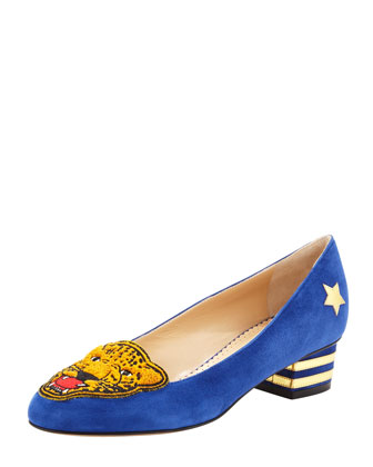 Mascot Wild Cat Suede Loafer, Varsity Blue