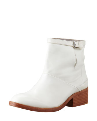Frankie Leather Ankle Boot, White