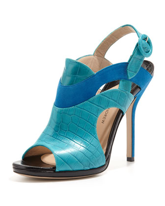 Ocean Peep-Toe Leather Bootie, Blue/Black