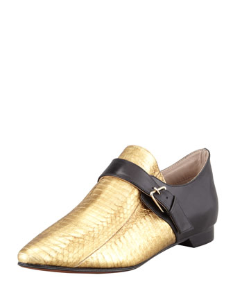 Roland Snakeskin Monk Shoe, Gold/Black