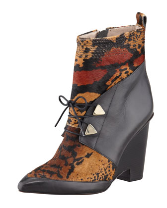 Yola Calf Hair Wedge Boot, Toffee/Black