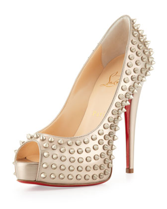 Vendome Spikes Specchio Platform Red Sole Pump, Beige