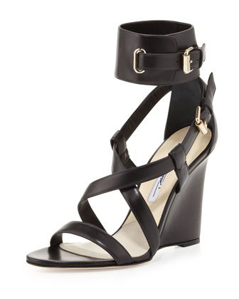 Wedge Sandal with Ankle Wrap, Black