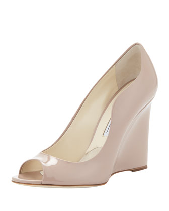 Scalloped Patent Peep-Toe Wedge