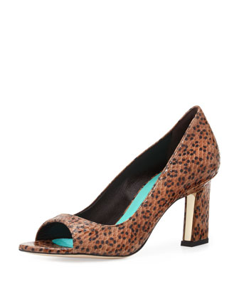 Spotted Snake Peep-Toe Pump