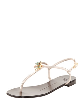 Jeweled Metallic Thong Sandal, Gray