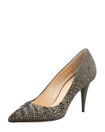 Suede Crystal-Embellished Pump, Gray