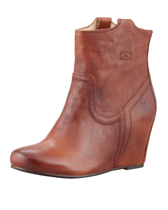Carson Leather Wedge Bootie, Cognac