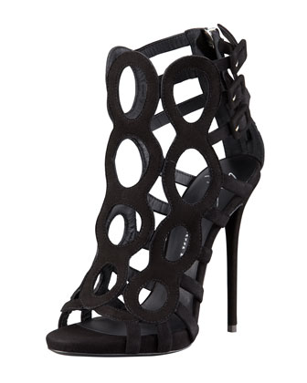 Suede Buckled Open-Toe Cage Bootie, Black