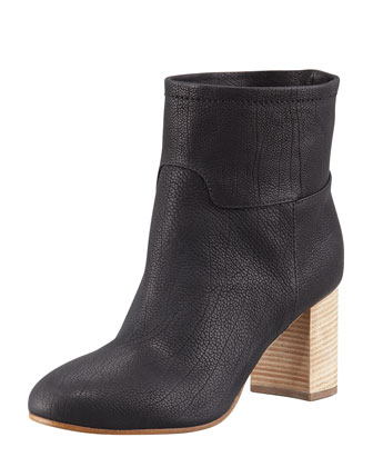 Stacked-Heel Leather Ankle Boot, Black