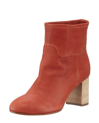 Stacked-Heel Leather Ankle Boot, Burnt Orange