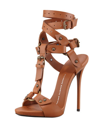 Ankle-Wrap T-Strap Leather High-Heel Sandal, Tan
