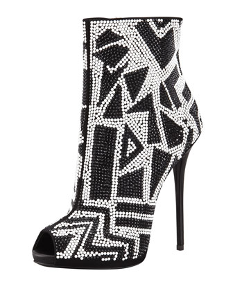 Crystallized Peep-Toe Bootie, Black/White
