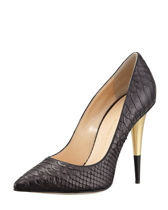 Snake-Embossed Leather Pump, Black