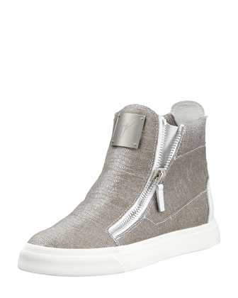 Laceless Stingray-Embossed Sneaker, Silver