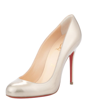 Fifi Metallic Leather Red Sole Pump, Beige/Gold